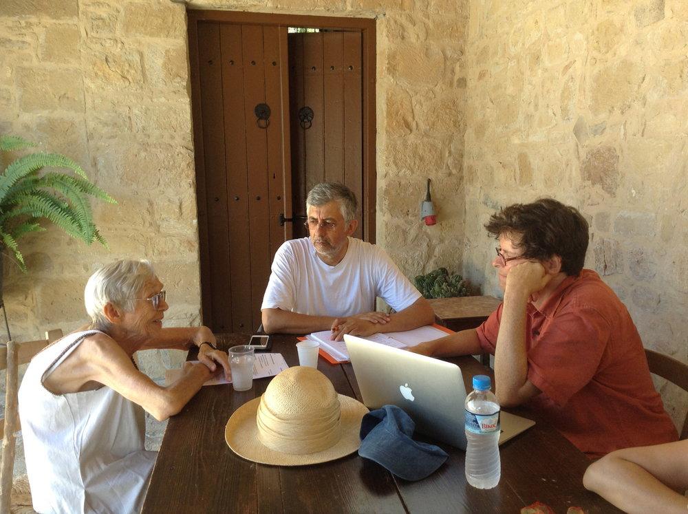 Jaqueline Karageorghis, Stavros Papageorghiou, and John Franklin at Kouklia, Cyprus.