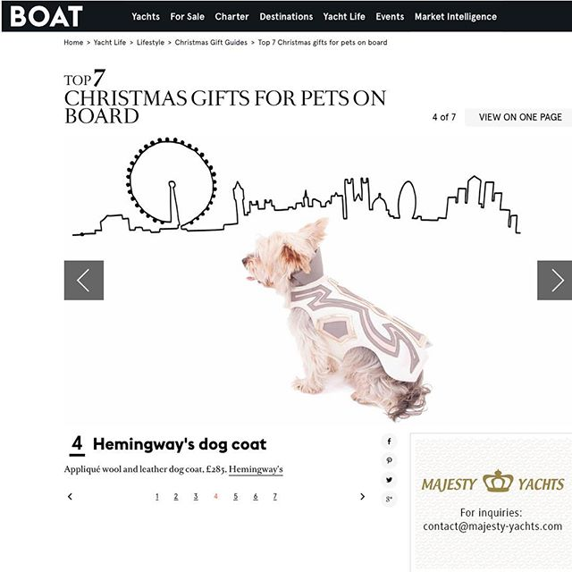 Huge thanks to @boatinternational for including our @hemingways_london #appliqué #dogcoat in their #christmas #giftguide ❤️