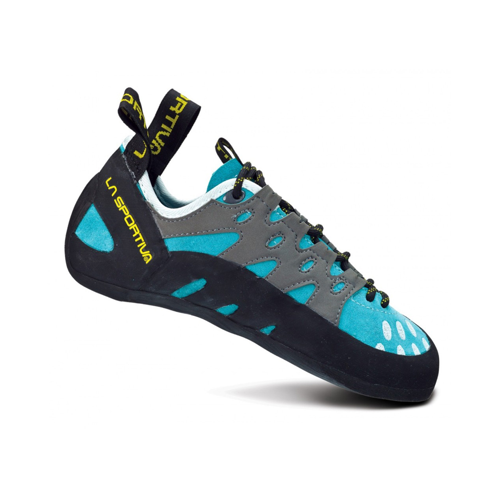La Sportiva Tarantulace - Women's These are a great introductory pair of shoes. They're comfortable enough for long sessions at the gym, but also way more reliable than any rental shoe. Highly recommended for a first pair of climbing shoes!