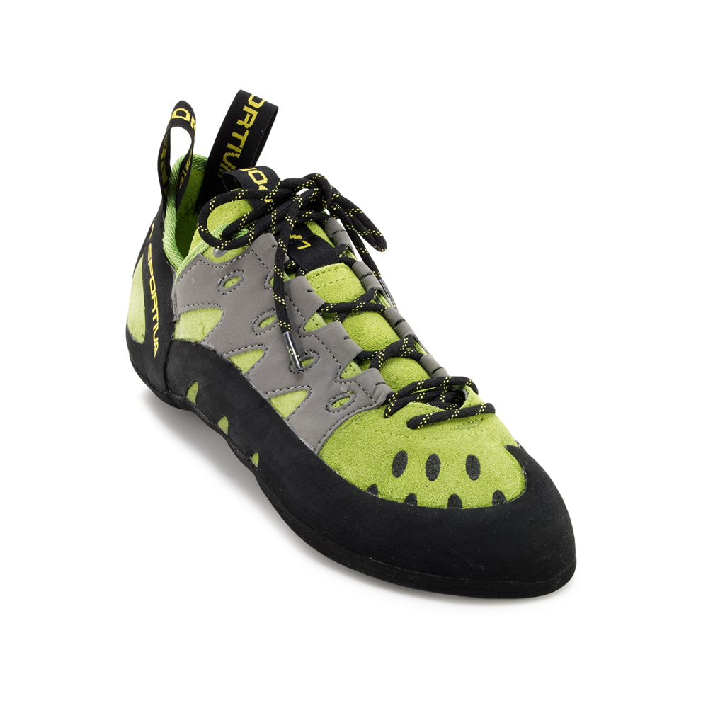 La Sportiva Tarantulace - Men's These are a great introductory pair of shoes. They're comfortable enough for long sessions at the gym, but also way more reliable than any rental shoe. Highly recommended for a first pair of climbing shoes!
