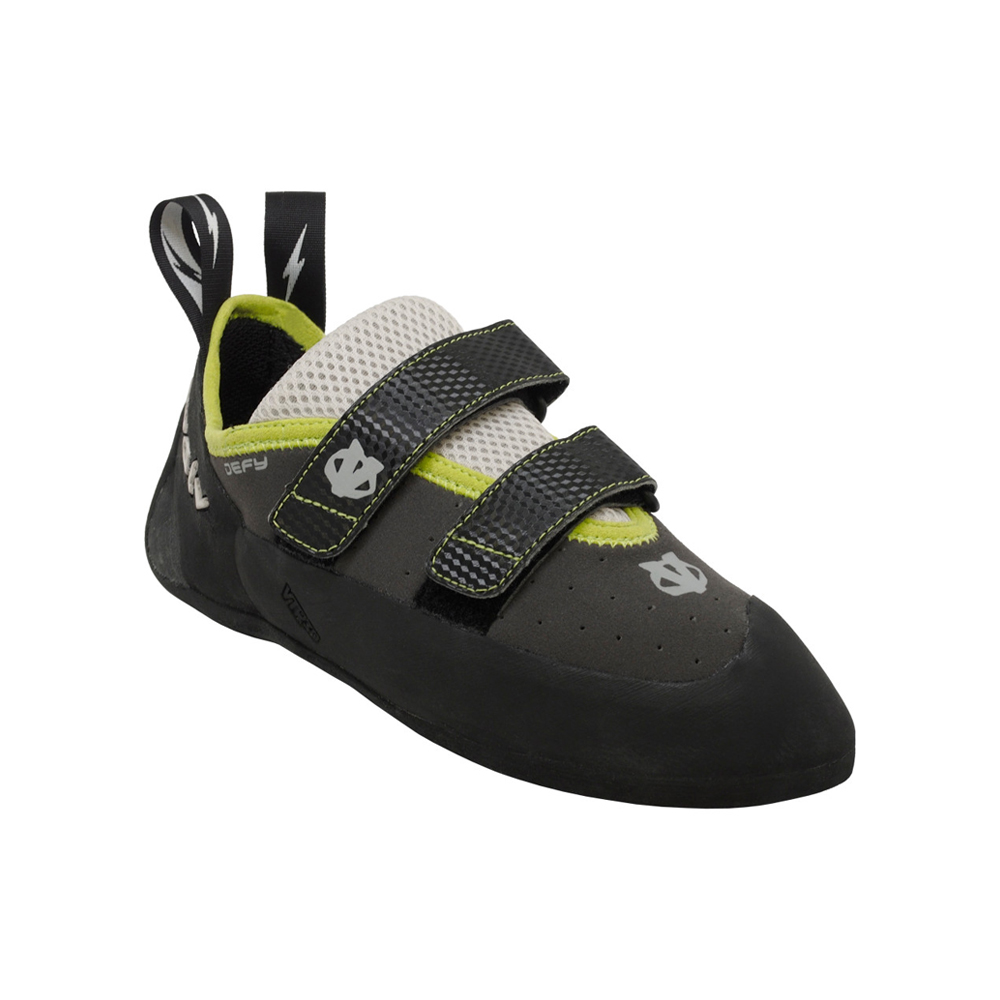 Evolv Defy The Evolv Defy is the perfect indoor training shoe or less aggressive shoe for some of your slabby climbs. Don't blow out your projecting shoes while you're running 4x4's in the gym.