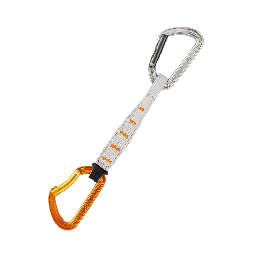 Petzl Spirit Express A very nice quickdraw if you're looking to supplement your set with some nicer draws. The stiff dogbone make this draw easy to snag when cleaning or if you need a quick savior hold.