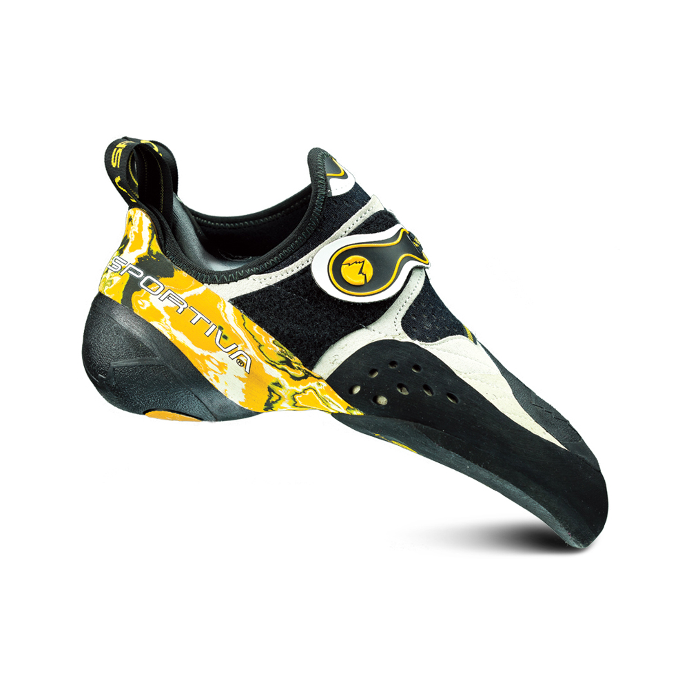 La Sportiva Solution The Solution is a powerful bouldering shoe. The Solution has one of the most unique heel cups, and allows for 360 degree heel hooking.
