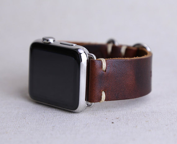 e5e2810ee2dc4a Handmade Leather Apple Watch Band, Coffee Bean — Old North State Mercantile  Company