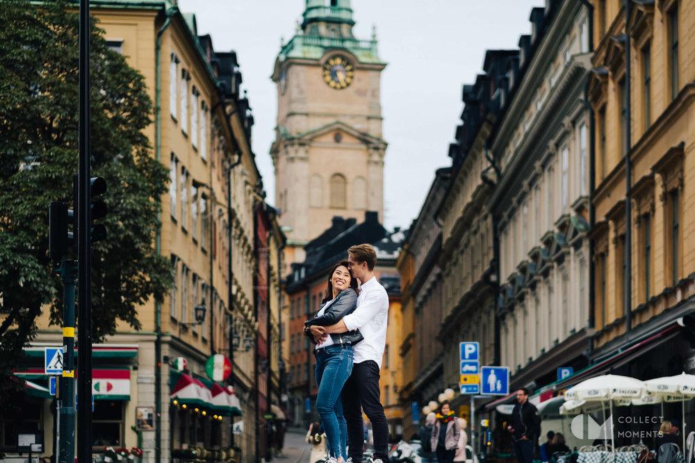 ストックホルム旧市街でのエンゲージメントフォト