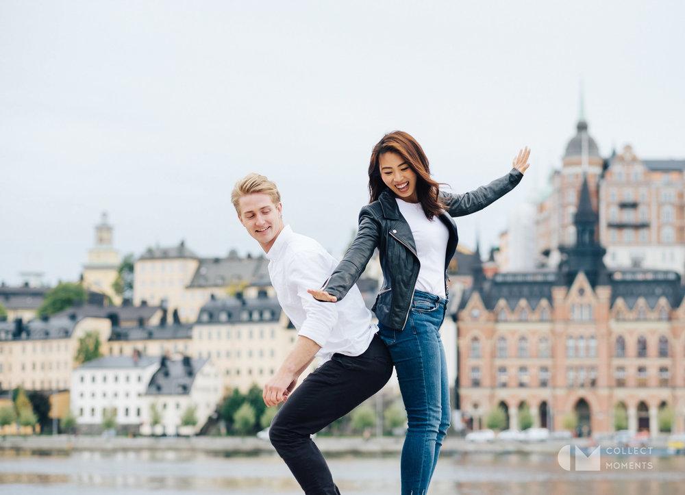 スウェーデンの美しい町並みで撮影