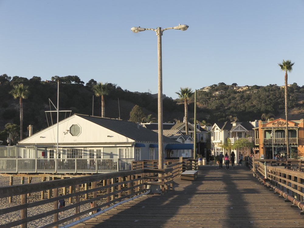 View of downtown Avila Beach promenade, from the Avila Beach Pier. Photo by Larry Armstrong.