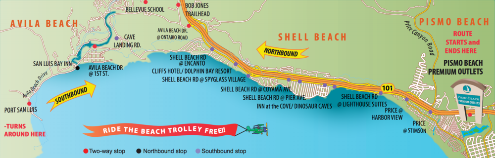 Avila-Pismo Trolley Map, provided by the San Luis Obispo Regional Transit Authority. Map by RTA.