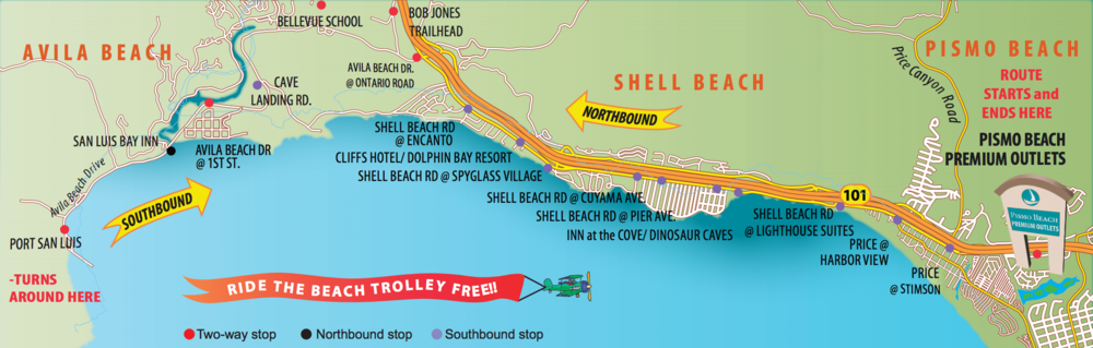 The Avila-Pismo Trolley map from the San Luis Obispo RTA. Download the full PDF schedule.
