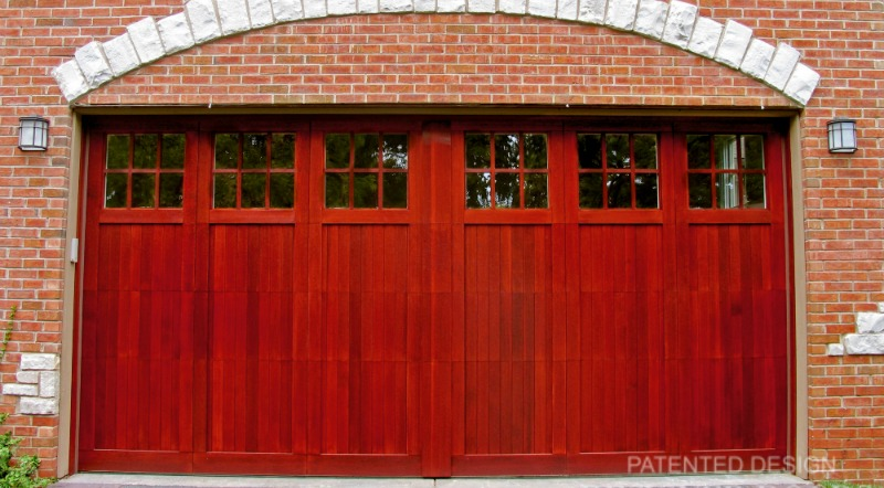 Simulated center post on a custom designed garage door