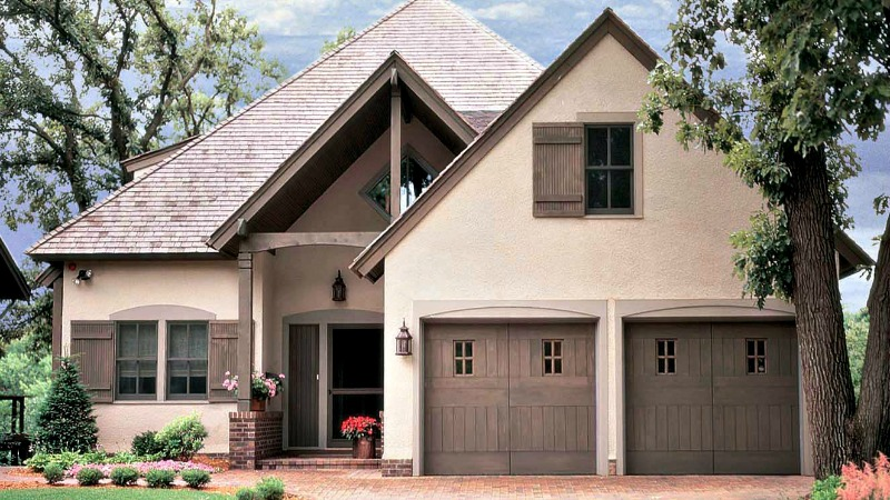 Tudor style custom wood garage doors