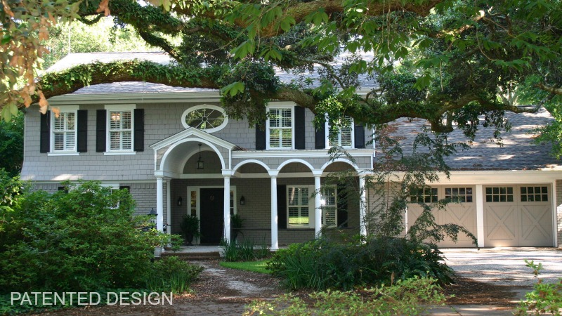 Colonial Revival custom wooden garage doors with Designer Doors Simulated Center Post