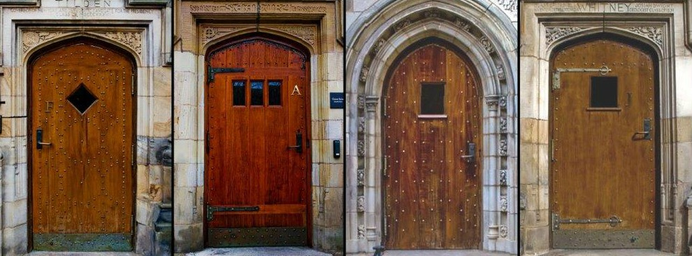 Photo of old Yale University doors. Designer Doors has been commissioned by Yale University to replace the old, arched wood doors in 2017. We look forward to sharing photos from campus soon!