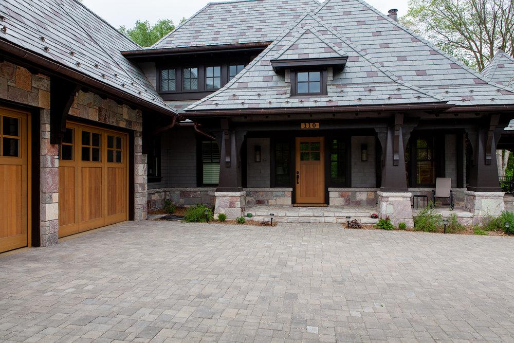 Hometime Stone Cottage project with Designer Doors custom garage doors