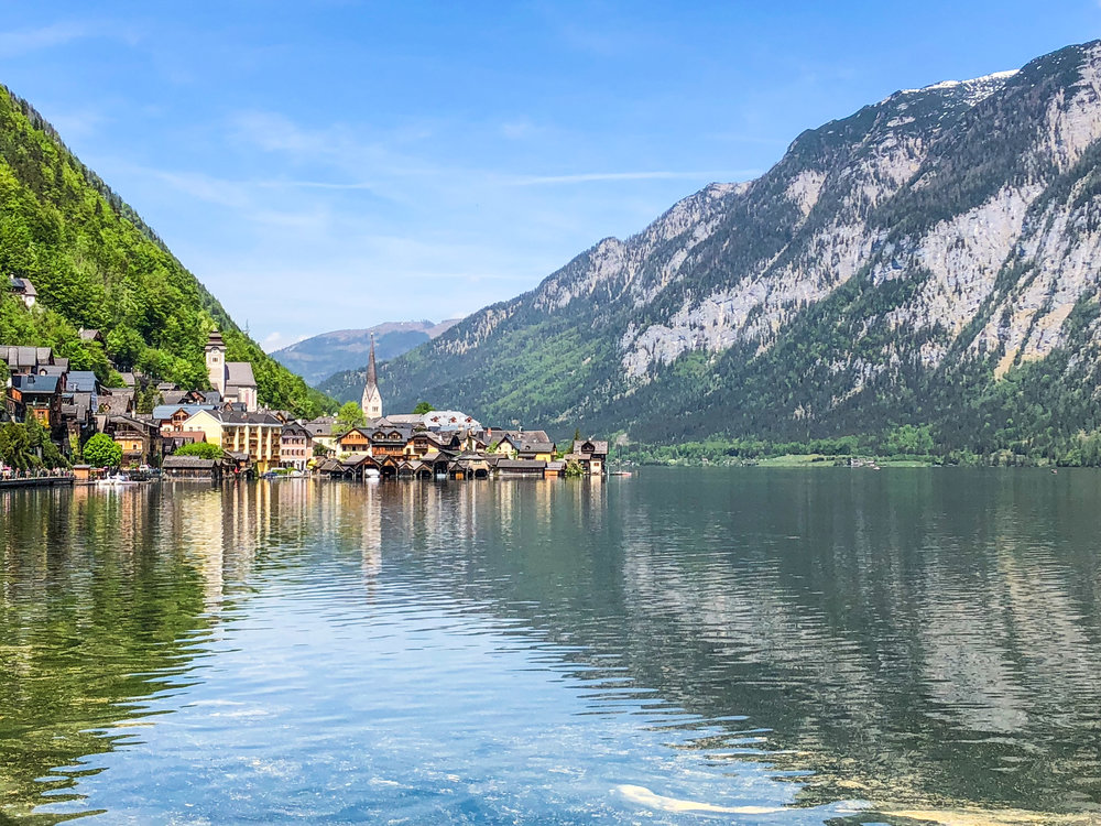 Beatiful view over the lake and old village