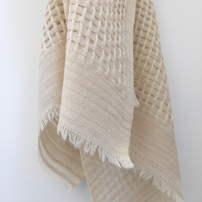 Light airy open weave scarf in sand and chalk
