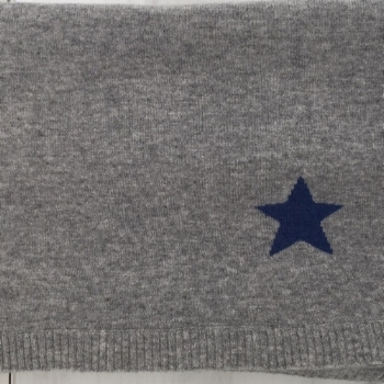 Baby Blanket with Blue Star Intarsia