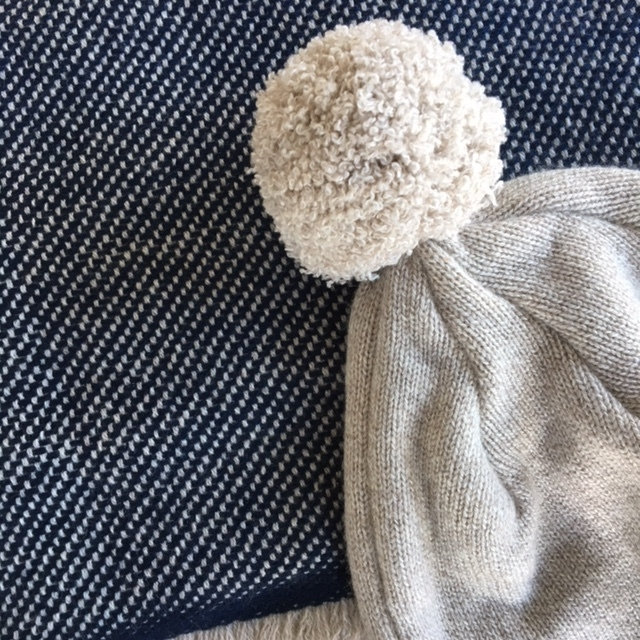 Pom Pom Hat in Oatmeal and Indigo Scarf