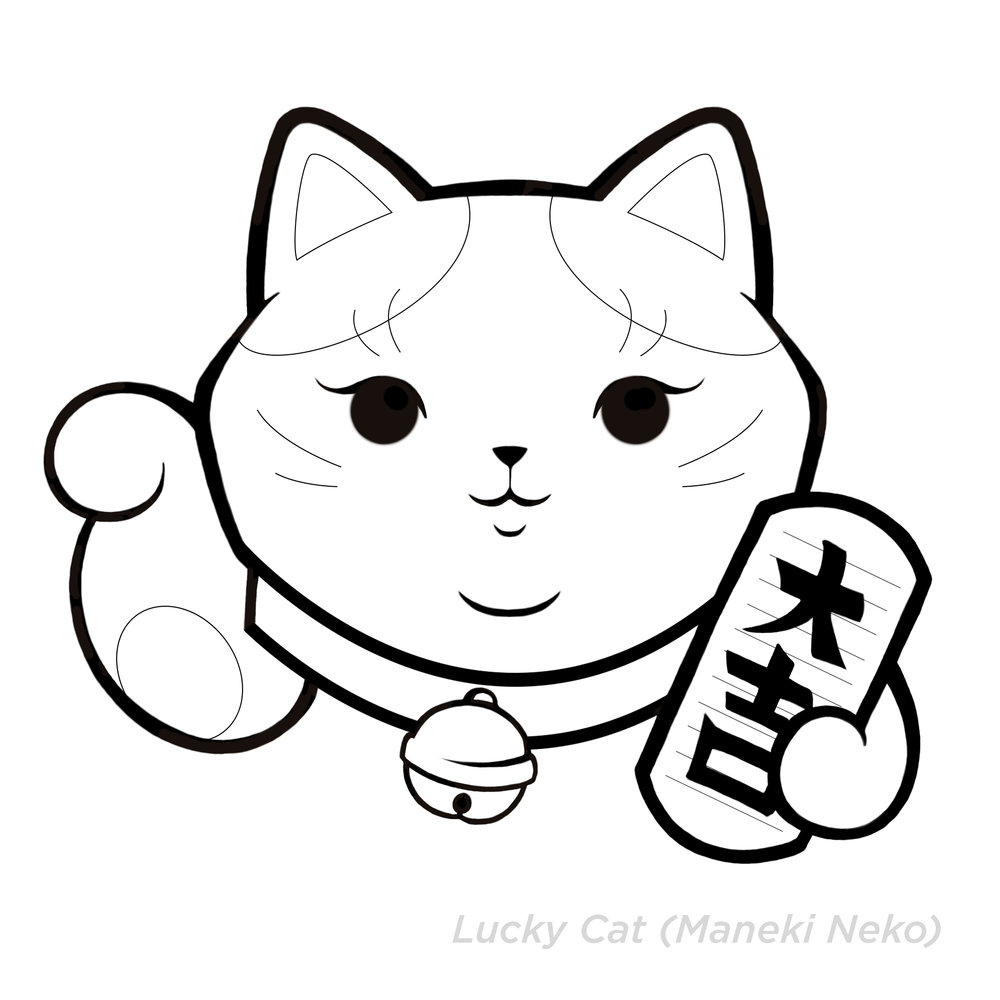 Lucky Cat Coloring Page Www Topsimages Com