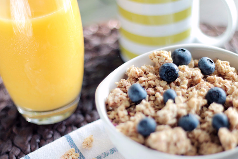 There's how much sugar in this granola and OJ?