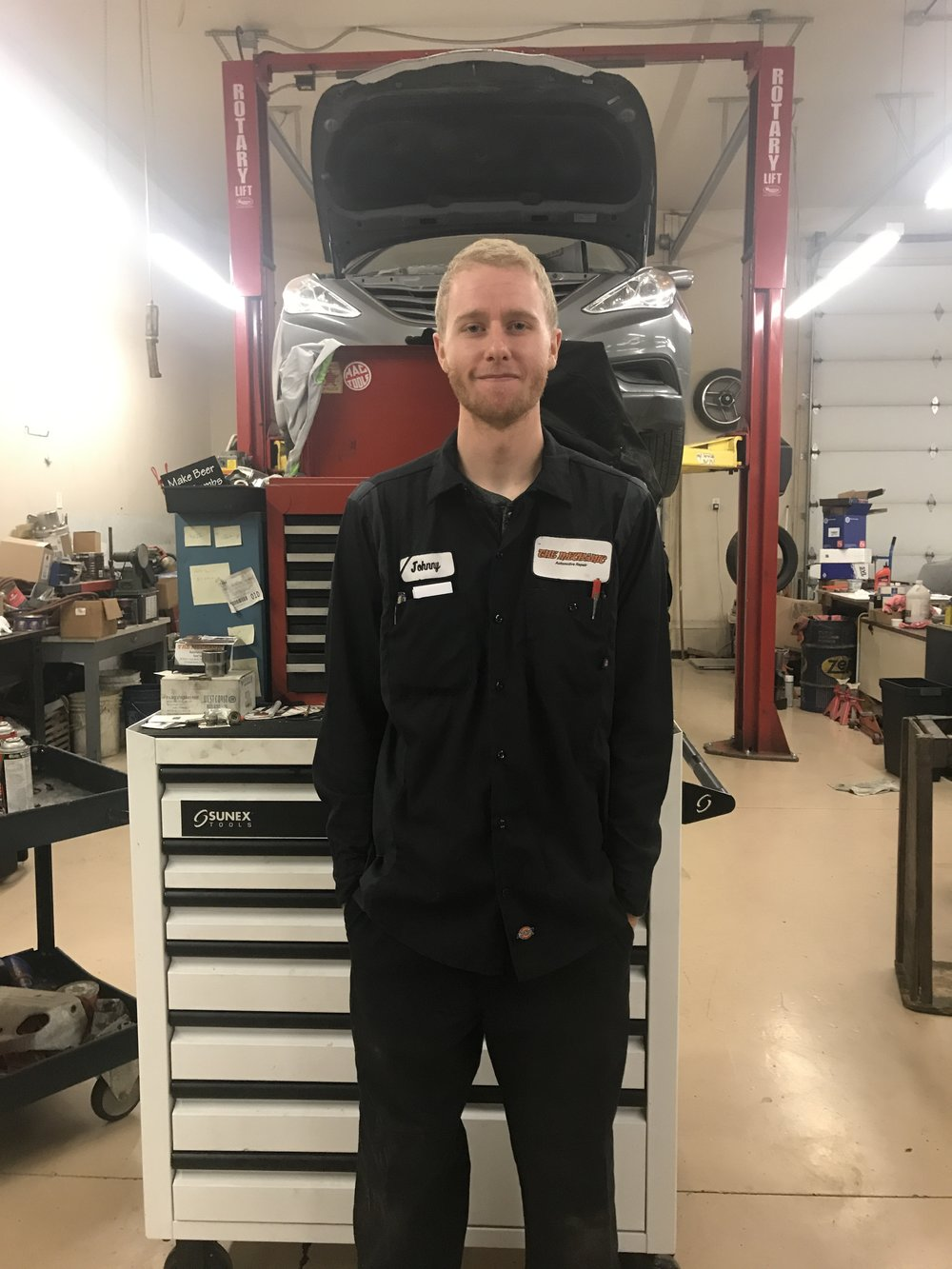 Johnny grew up in Bluffdale and graduated from Paradigm High School. He is currently working on an automotive technician degree from Salt Lake Community College. His hobbies include riding his Yamaha dirt bike (YZ250) and taking care of his beautiful Subaru WRX.
