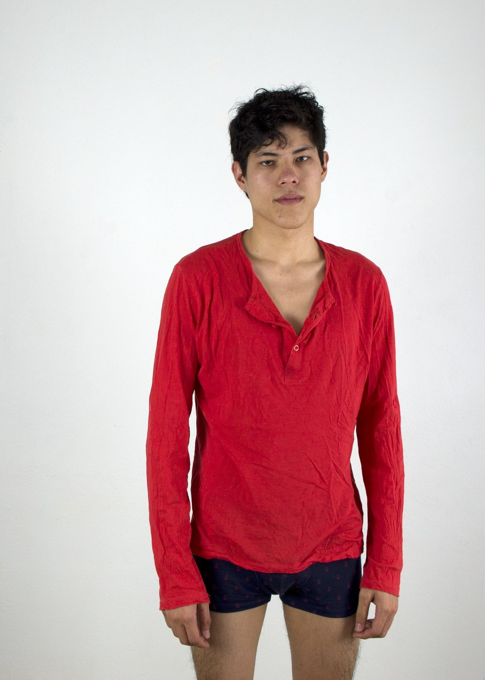 Joseph wears shirt and boxer briefs by H&M