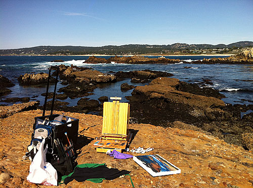 Point lobos Moss Cove easel painting setup