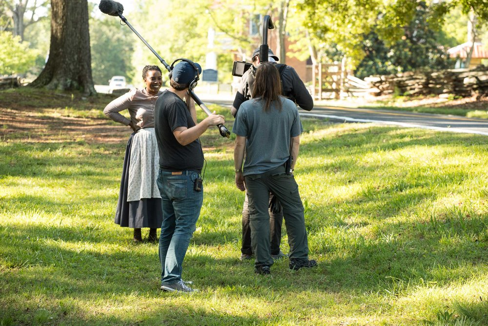 Boom Operator Aaron Mowrer, Olivia Washington, Gaffer Cory Skipper, and DP Patrick Jones.