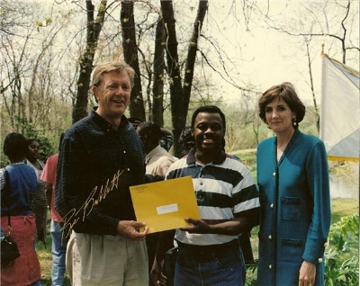 Receiving Anacostia River Conservation Award from Interior Secretary Bruce Babbitt and EPA Administrator Carol Browner