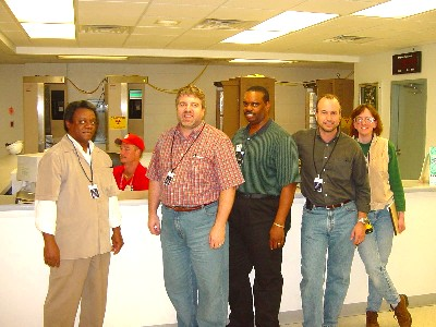 McDonald, Delbert Horn, Howard King, Michael Stuart, Kelly Taylor in dosimetry area