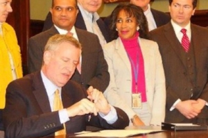 Mayor Bill de Blasio and Samara Swanston