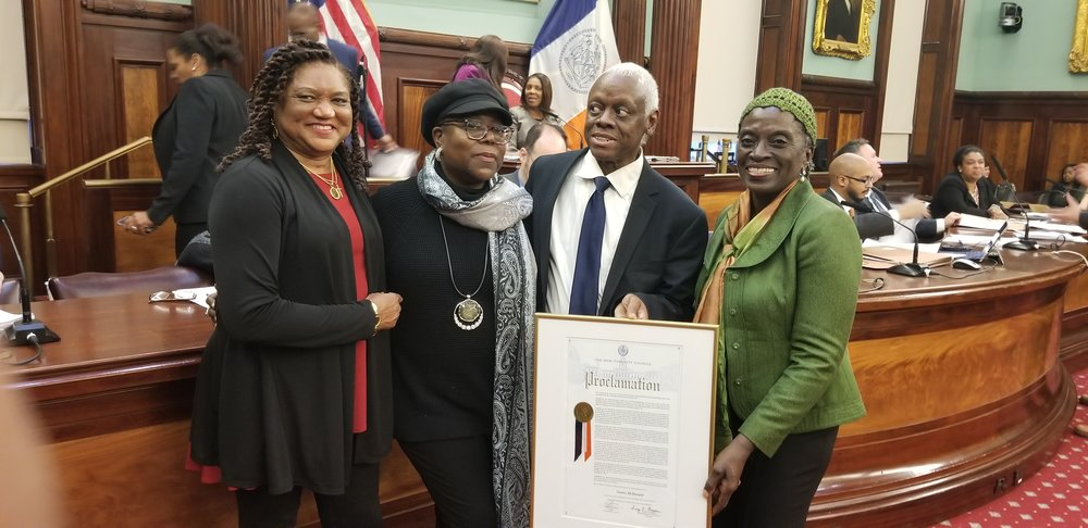Strauss Moore-Shiple, Betty Chambers, Norris McDonald and Councilwoman Inez Barron