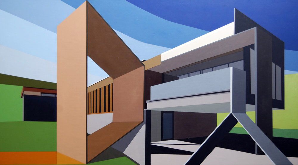 "ARCHITECTURAL ADDENDUM: ROHE      oil on panel | 40"" x 22"" 
