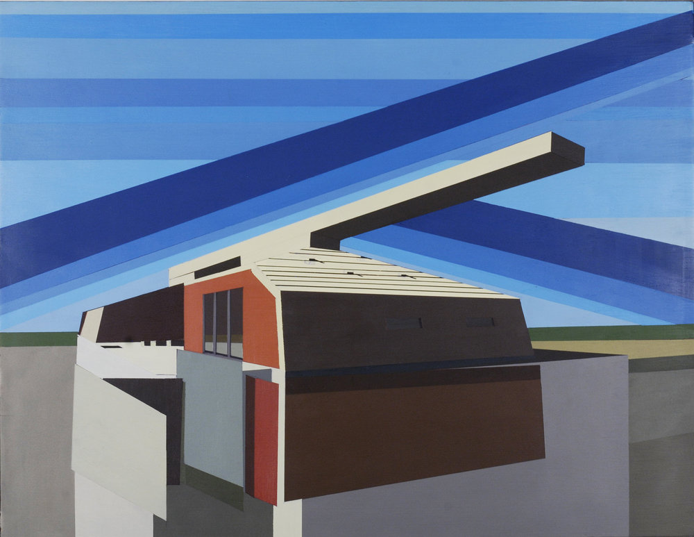 "ARCHITECTURAL ADDENDUM: SHEELER      oil on panel | 18"" x 23"" 