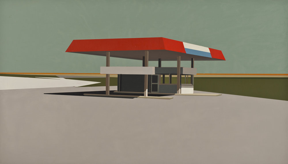"SUMMER GREY GAS STATION IN PATINA BLUE     oil on panel | 12"" x 21"" 
