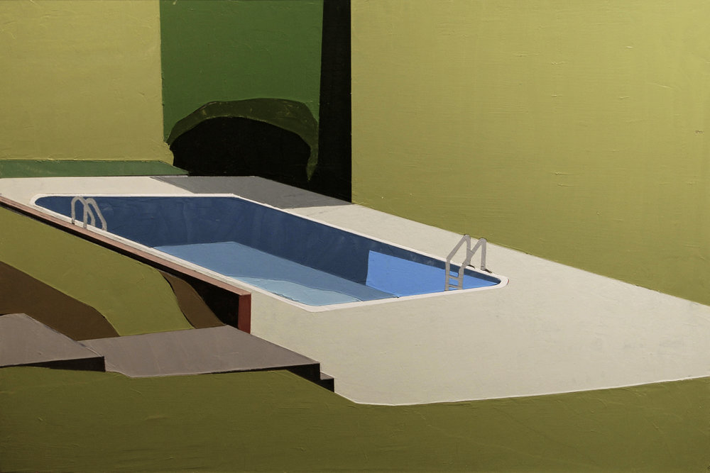 "POOL SIDE      oil on panel | 12"" x 27"" 