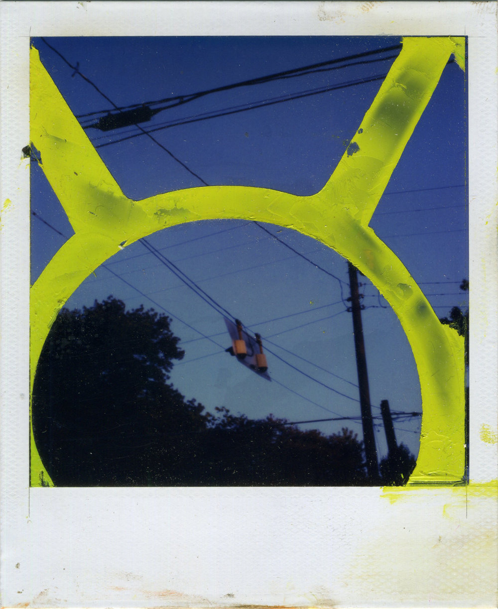 "INTERSECTION (ANTENNAE)   oil on sx-70 Polaroid | 3.25"" x 4.25"" 