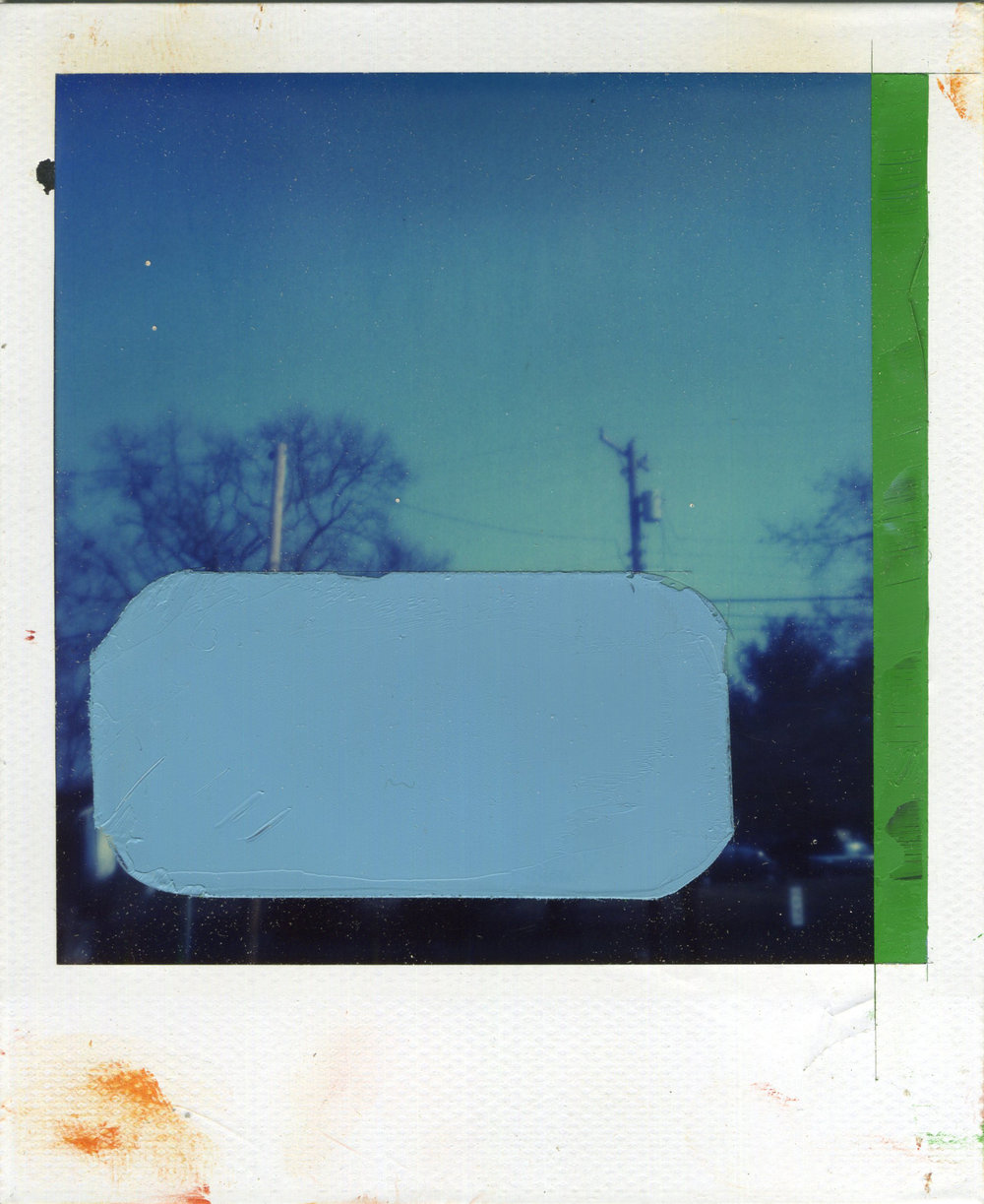 "INTERSECTION (CENSOR)   oil on sx-70 Polaroid | 3.25"" x 4.25"" 