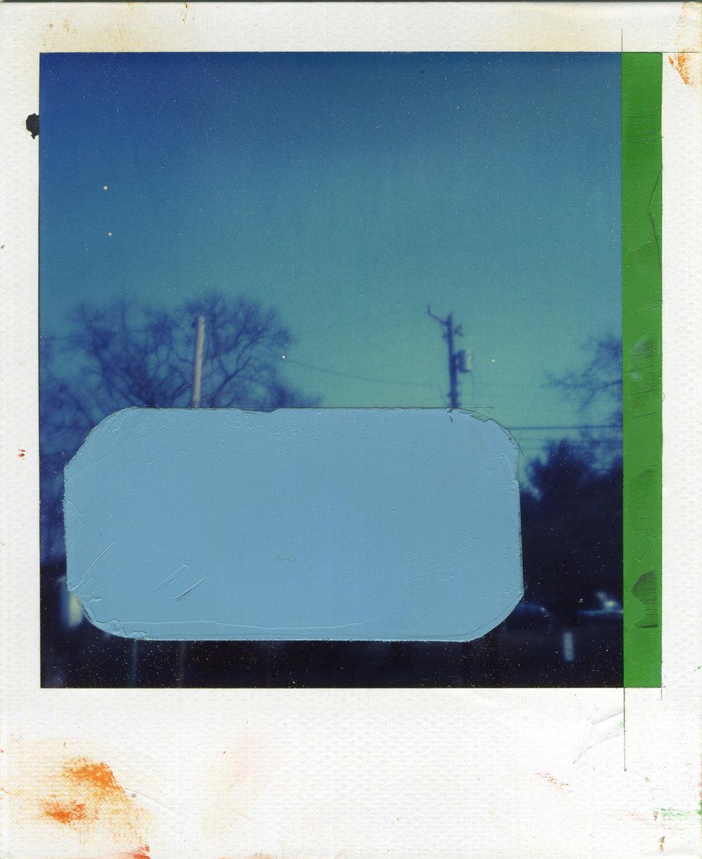 "INTERSECTION (CENSOR)   oil on sx-70 Polaroid | 3.25"" x 4.25"" | 2013"