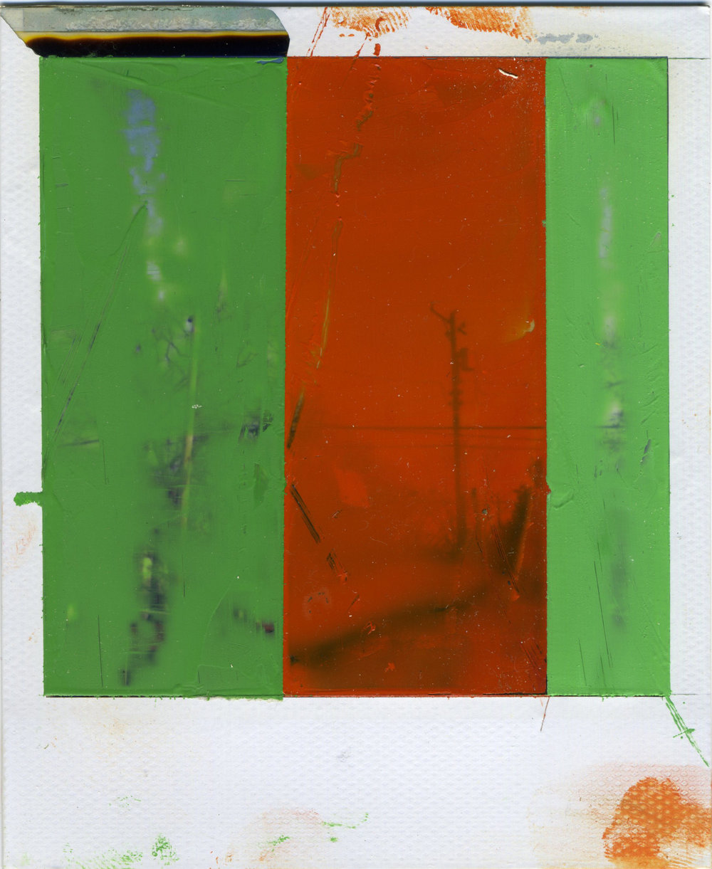 "INTERSECTION (BREAD AND BUTTER)   oil on sx-70 Polaroid | 3.25"" x 4.25"" 