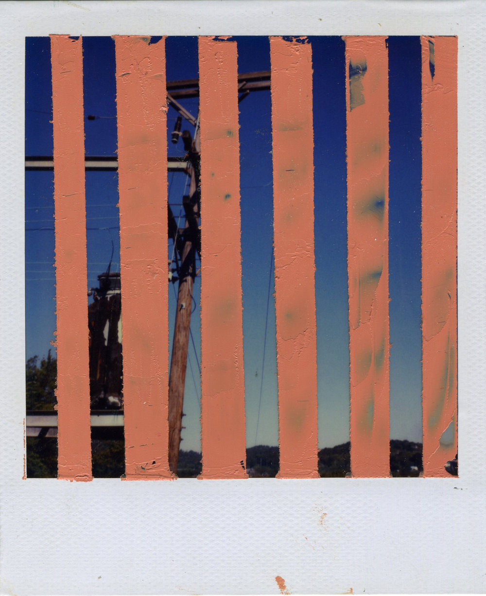 "INTERSECTION (VERTICAL HOLD)   oil on sx-70 Polaroid | 3.25"" x 4.25"" 