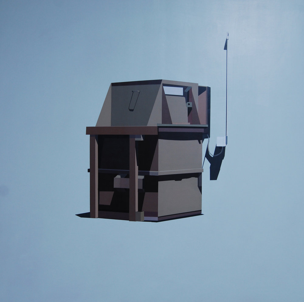 "FRENCH KHAKI DUMPSTER IN ANDOVER BLUE GREY   oil on panel | 48"" x 48"" 2014"