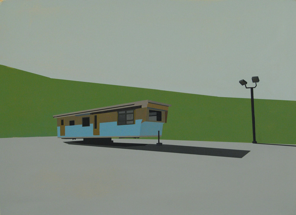 "DWELLING WITH GREEN STRIPE   oil on paper | 29.5"" x 22"" 2011"