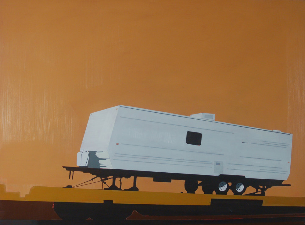 "FEMA TRAILER IN HONEY TEA   oil on paper | 21"" x 25.5"" 