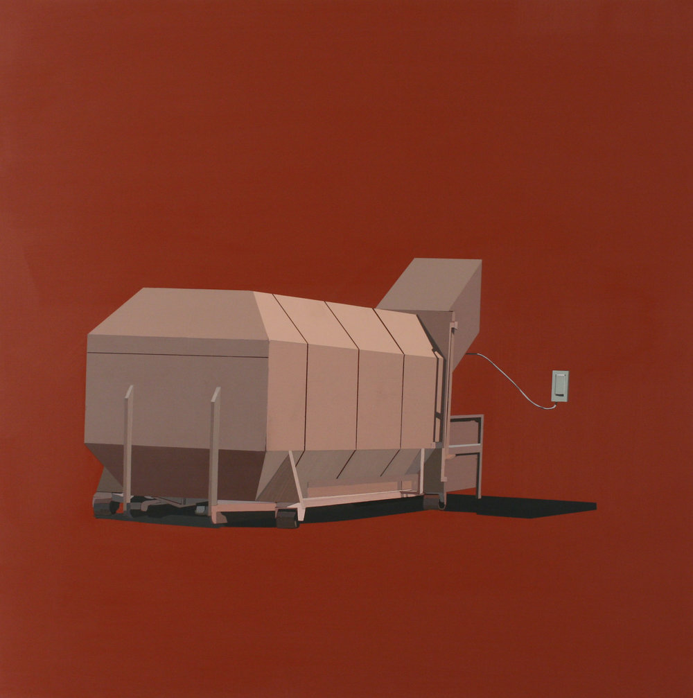 "STRAWBERRY GREY DUMPSTER IN RETRO RED   oil on panel | 24"" x 24"" 