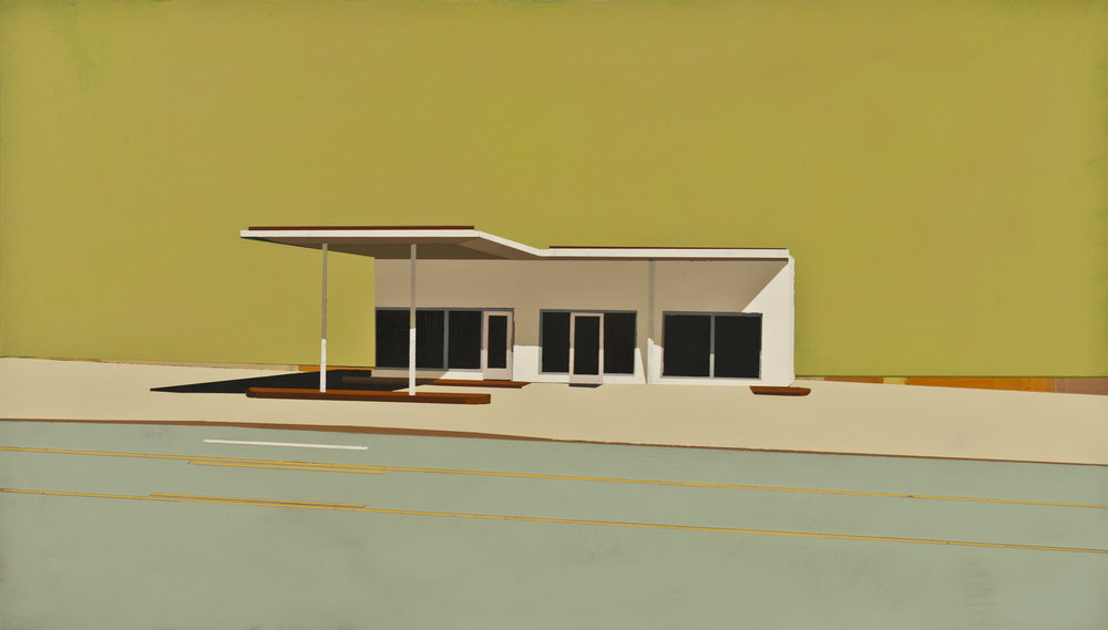 "SUNDAY TIMES GAS STATION IN SPINEY SEA URCHIN      oil on panel | 12"" x 21"" 
