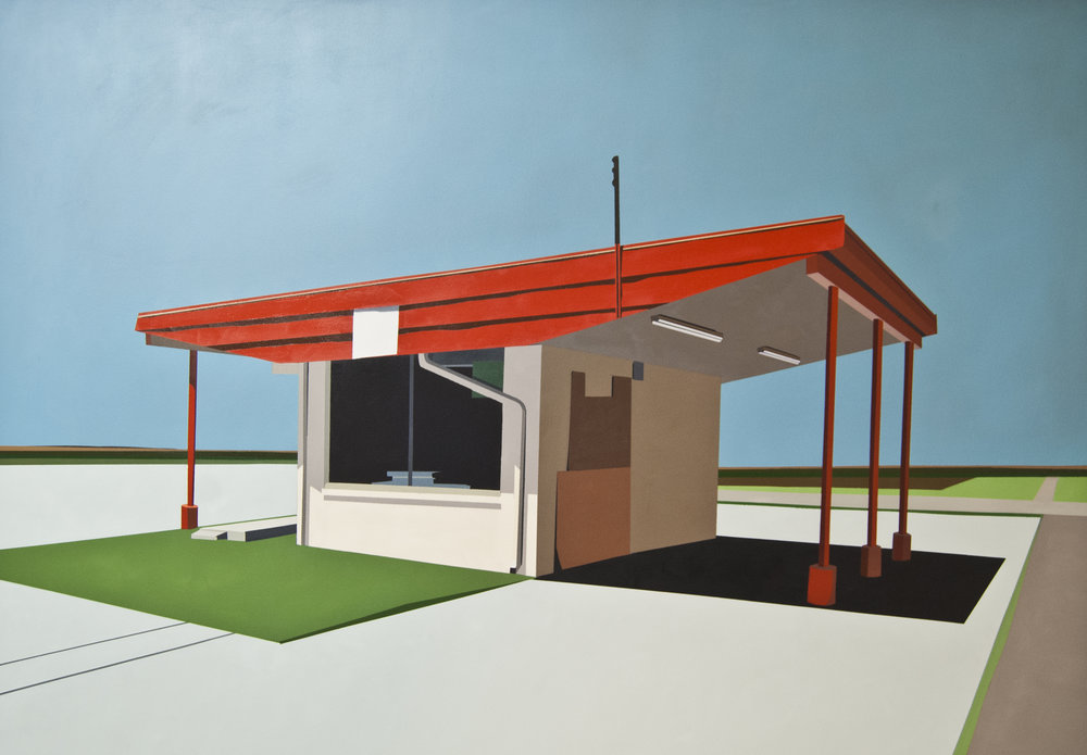 "ORANGE SLICE GOLDEN GALLON IN CHALK BLUE SKY   oil on panel | 60'' x 72"" 2012"