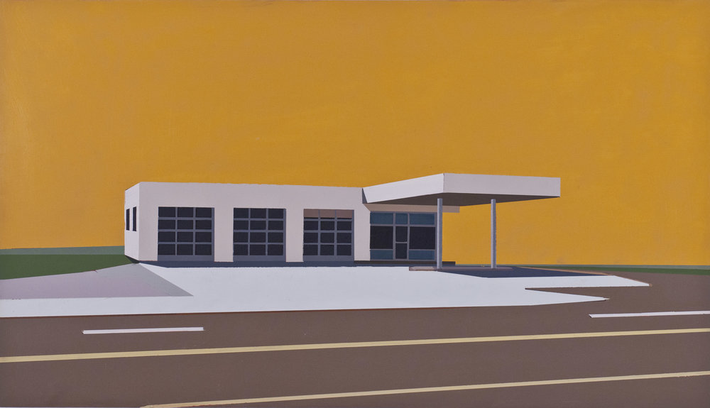 "ROCK ar720 GAS STATION SANTA MONICA BLVD. ar825    oil on panel | 12"" x 21"" 2012"