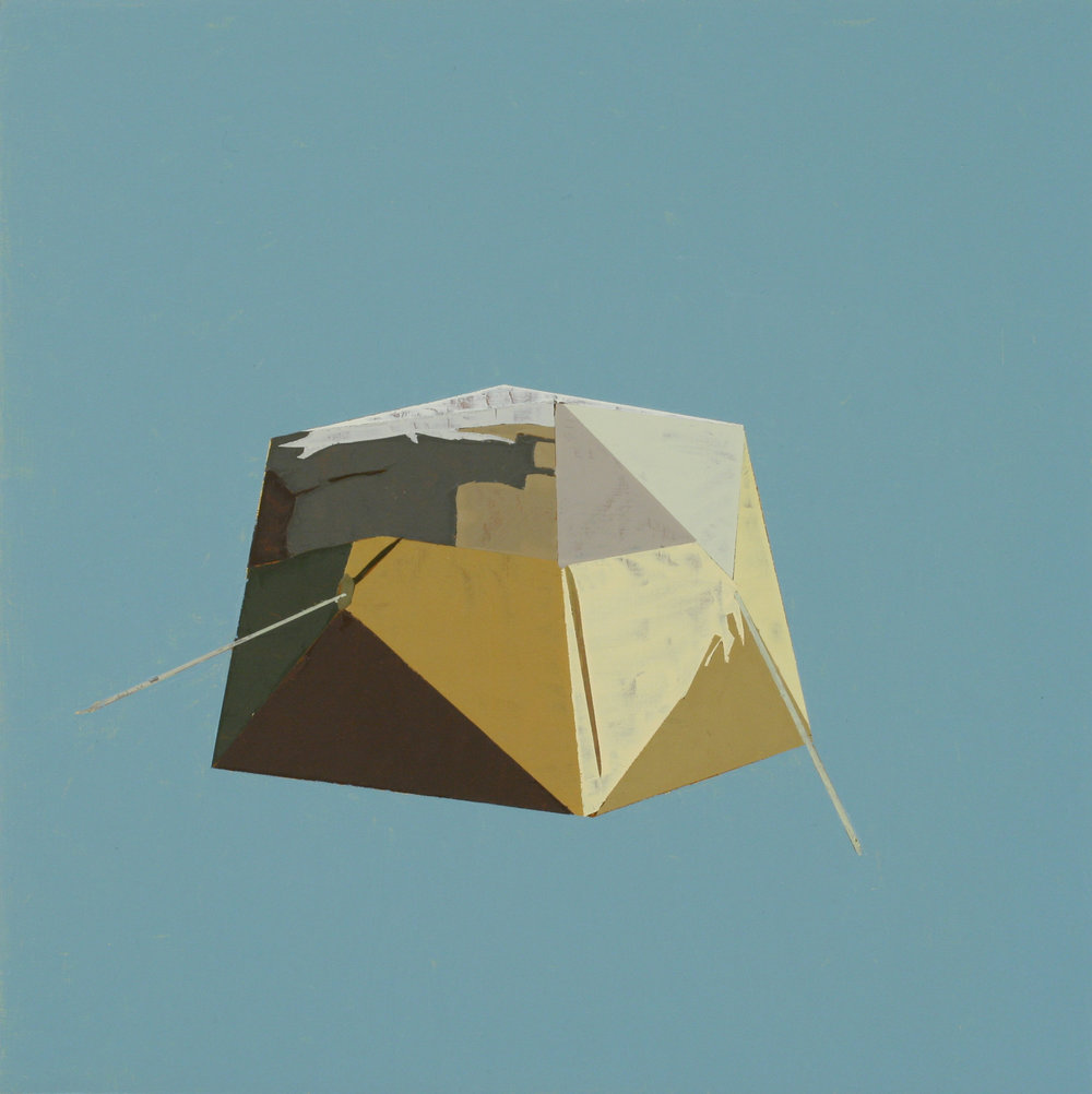 """UTILITY TENT IN CELESTIAL BLUE   oil on panel 