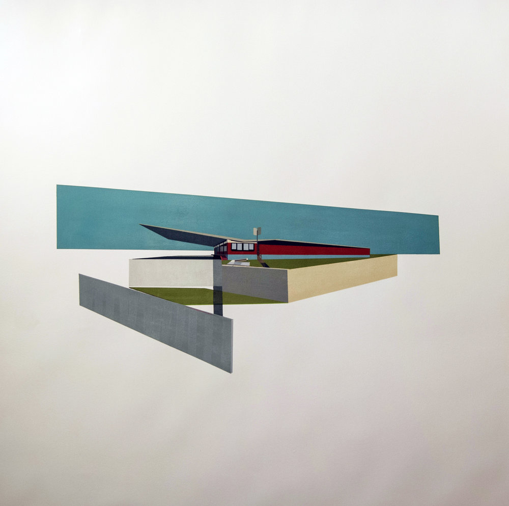 "ARCHITECTURAL ADDENDUM: LISSITZKY      oil on paper | 44"" x 44"" 